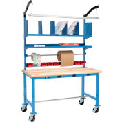 Mobile Electric Packing Workbench Maple Butcher Block Safety Edge - 60 x 36 with Riser Kit