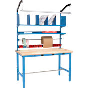 Electric Packing Workbench Maple Butcher Block Safety Edge - 60 x 36 with Riser Kit