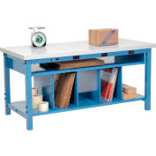 Electric Packing Workbench Plastic Square Edge - 72 x 36 with Lower Shelf Kit