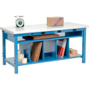Electric Packing Workbench Plastic Safety Edge - 60 x 36 with Lower Shelf Kit