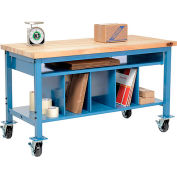 Mobile Packing Workbench Maple Butcher Block Square Edge - 72 x 36 with Lower Shelf Kit