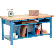 Electric Packing Workbench Maple Butcher Block Square Edge - 72 x 36 with Lower Shelf Kit
