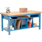 Global Industrial™ Packing Workbench Maple Butcher Block Safety Edge 60x30 with Lower Shelf Kit