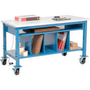 """Global Industrial™ Mobile Packing Workbench W/Lower Shelf Kit, ESD Square Edge, 60""""W x 36""""D"""