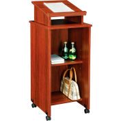 Interion® Mobile Podium / Lectern in Mahogany Finish