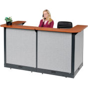"Interion® U-Shaped Electric Reception Station, 88""W x 44""D x 46""H, Cherry Counter, Gray Panel"