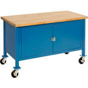 """72""""W x 30""""D Mobile Workbench with Security Cabinet - Maple Butcher Block Safety Edge - Blue"""