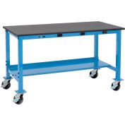 Global Industrial™ 60 x 36 Mobile Lab Workbench - Power Apron - Phenolic Resin Safety Edge Blue