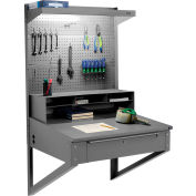 "Wall Mount Shop Desk with Pigeonhole Riser, Pegboard Panel & Top Shelf 34-1/2""W x 30""D x 61""H - Gray"