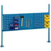 "Global Industrial™ Panel Kit for 60""W Bench, Two 18""W Louver, 18""W Pegboard, Rail, Upright Blue"