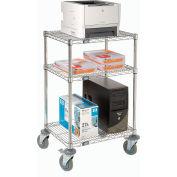 "Nexel™ 3-Shelf Chrome Wire Shelf Mobile Printer Stand, 24""W x 18""D x 39""H"