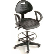 Interion® Ergonomic Stool With Arms - Polyurethane - 5 Way Adjustment - Black