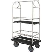Glaro Bellman Condo Cart 48x25 Satin Aluminim Black Carpet, 4 Rubber Wheels