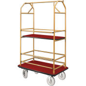 Glaro Bellman Condo Cart 40x25 Satin Brass Burgundy Carpet, 4 Pneumatic Wheels