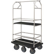 Glaro Bellman Condo Cart 48x25 Satin Aluminum Black Carpet, 6 Rubber Wheels