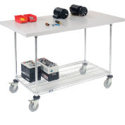 """Global Industrial™ Mobile Workbench w/ Laminate Square Edge Top & Wire Rack, 60""""Wx30""""D, Chrome"""