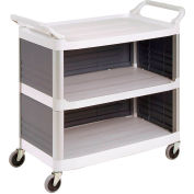 Rubbermaid® 4093 Plastic Utility Cart with 3 Shelves - Closed Ends & Back