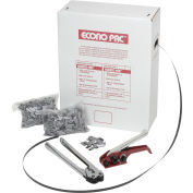 """Pac Strapping Poly Kit w/ Tensioner/Sealer & Seals, 7200'L x 1/2"""" Strap Width Coil, Black"""