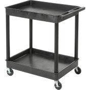 "Luxor® STC11 Tray Top Shelf 2 Shelf Plastic Utility Cart 24x18 4"" Casters"