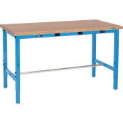 Global Industrial™ 72 x 36 Adjustable Height Workbench - Power Apron, Shop Top Square Edge Blue