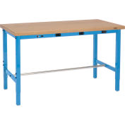 Global Industrial™ 72 x 36 Adjustable Height Workbench - Power Apron, Shop Top Safety Edge Blue