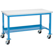 Global Industrial™ 72 x 36 Mobile Production Workbench - Plastic Laminate Square Edge - Blue
