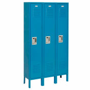 Global Industrial™ Extra Wide Single Tier Locker 15x18x72 3Door Recessed Ready to Assemble Blue