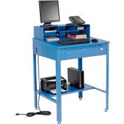 "Global Industrial™ Sloped Shop Desk w/ Pigeonhole Riser, 34-1/2""W x 30""D, Blue"