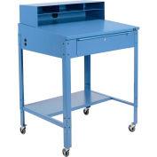 "Global Industrial™ Sloped Mobile Shop Desk w/ Pigeonhole Riser, 34-1/2""W x 30""D, Blue"