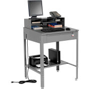 """Shop Desk with Pigeonhole Compartment Riser 34-1/2""""W x 30""""D x 38""""H Sloped Surface - Gray"""