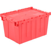 "Global Industrial™ Hinged Lid Plastic Shipping & Storage Tote, Red, 21-7/8""x 15-1/4""x 12-7/8"""