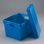 Global Industrial™ Corrugated Plastic Postal Mail Tote With Lid 18-1/2x13-1/4x12 Blue - Pkg Qty 10