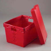 Global Industrial™ Corrugated Plastic Postal Mail Tote With Lid 18-1/2x13-1/4x12 Red - Pkg Qty 10