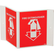 "Fire Extinguisher Sign, 180° Visibility, Acrylic, 8"" x 14-1/2"", VS11R"