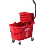 Global Industrial™ Mop Bucket And Wringer Combo 38 Qt., Side Press, Red