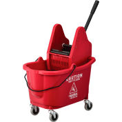Global Industrial™ Mop Bucket And Wringer Combo, Down Press, Red