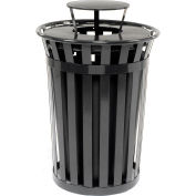 Global Industrial™ Slatted Metal Outdoor Trash Receptacle With Rain Bonnet Lid, 36 Gal.