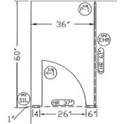 """Plastic Laminate Complete In-Corner Compartment 36"""" W Almond"""
