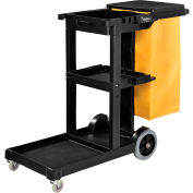 Global Industrial™ Janitor Cart Black with 25 Gallon Vinyl Bag