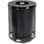 Global Industrial™ Deluxe Thermoplastic 32 Gallon Mesh Receptacle w/Flat Lid & Base - Black