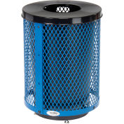 Global Industrial™ Outdoor Diamond Steel Trash Can With Flat Lid & Base, 36 Gallon, Blue