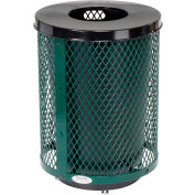 Global Industrial™ Deluxe Thermoplastic 32 Gallon Mesh Receptacle w/Flat Lid & Base - Green