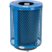 Global Industrial™ Deluxe Thermoplastic 32 Gal Mesh Recycling Receptacle w/Flat Lid & Base Blue