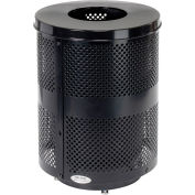 Global Industrial™ Deluxe Thermoplastic 32 Gallon Perf Receptacle w/Flat Lid & Base - Black