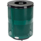 Global Industrial™ Deluxe Thermoplastic 32 Gallon Perf Receptacle w/Flat Lid & Base - Green