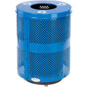 Global Industrial™ Deluxe Thermoplastic 32 Gal Perf Recycling Receptacle w/Flat Lid & Base - BL