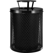 Global Industrial™ Thermoplastic Coated 32 Gallon Mesh Receptacle w/Rain Bonnet Lid - Black