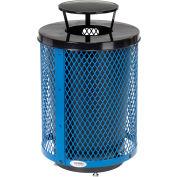 Global Industrial™ Outdoor Diamond Steel Trash Can W/Rain Bonnet Lid & Base, 36 Gallon, Blue
