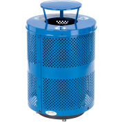 Global Industrial™ Deluxe Thermoplastic 32 Gal Perf Recycling Receptacle, Rain Bonnet & Base BL