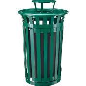 Global Industrial™ Outdoor Slatted Steel Trash Can W/Access Door & Rain Bonnet Lid,36 Gal,Green